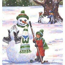 Carte de Joyeuses Fêtes des Whalers de Hartford qui date de 1988