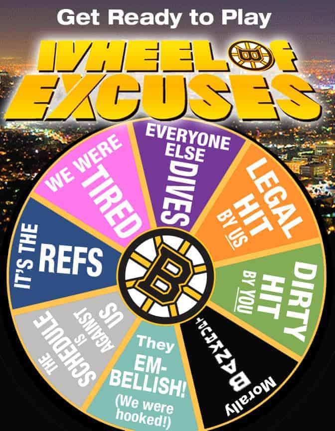 Préparez-vous à une série d'excuse venant des Bruins…