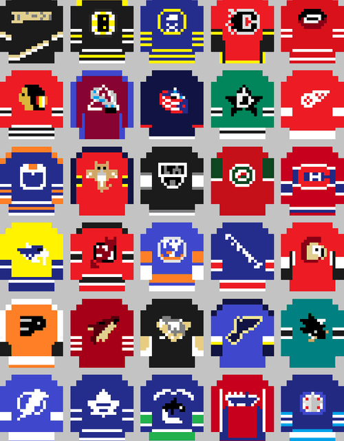 Les chandails de la NHL en version 8-bit